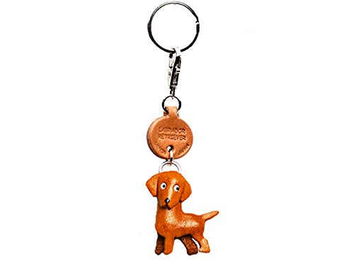 (Labrador Retriever Leather Dog Small Keychain VANCA Craft-Collectible Keyring Charm Pendant Made in Japan)
