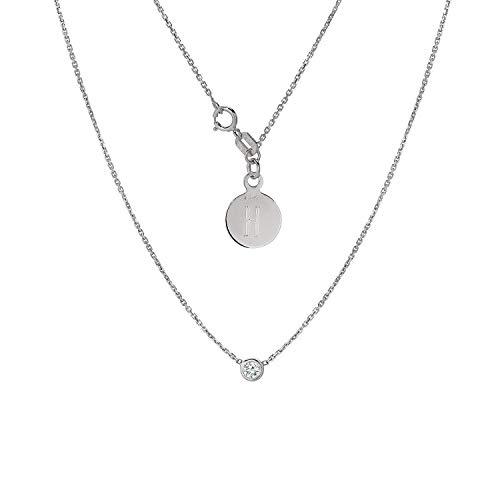 TousiAttar Diamond Solitaire Necklace - Bezel set Necklaces - Solid 14K or 18 Karat White Gold Pendant - 0.10 ct Natural Stone - Elegant Jewelry Gift - Minimalist Pendants - Free Engraving