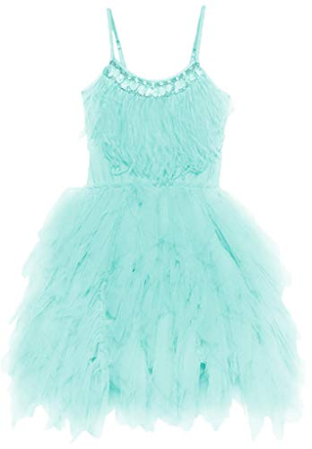 (Big Girls Sequins Feather Layered Ruffled Flower Girl Pageant Dress,Green)