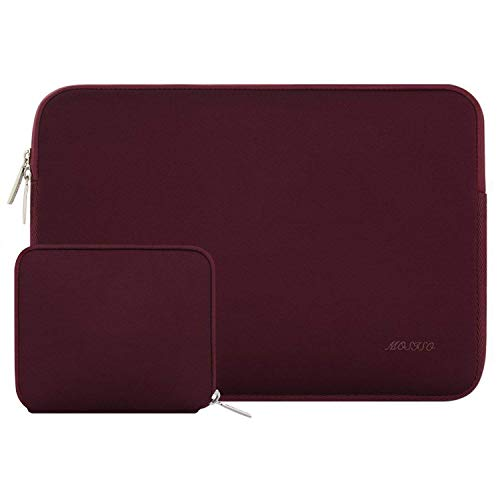 MOSISO Water Repellent Neoprene Laptop Sleeve Bag Cover Compatible 15-15.6 Inch MacBook Pro, Notebook Computer with Small Case, Wine Red