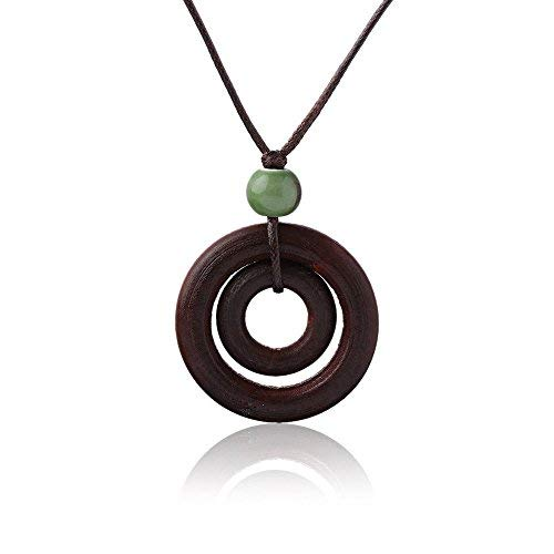 - Phonphisai shop Ceramics Bead Long Double-circle Pendant Rope Chain Wood Necklace