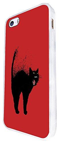 974 - Cool Fun Black Cat Art Design iphone SE - 2016 Coque Fashion Trend Case Coque Protection Cover plastique et métal - Blanc