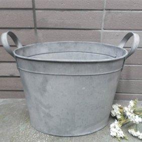 40cm galvanised metal vintage style wooden bucket bath for Metal bucket planter