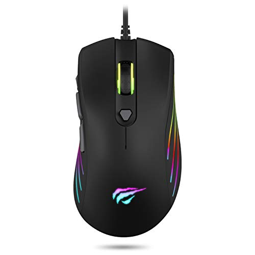 Havit Gaming Mouse Wired 7200DPI RGB Backlit Comfortable Computer Ergonomic USB Programmable Mice 1000Hz Polling Rate for Laptop Desktop PC Gamer