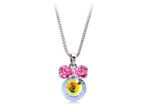 [Alilang Pink Fuchsia Bow Girl Power Disco 70s Ball AB Swarovski Crystal Pendant Necklace] (70s Jewellery Disco)