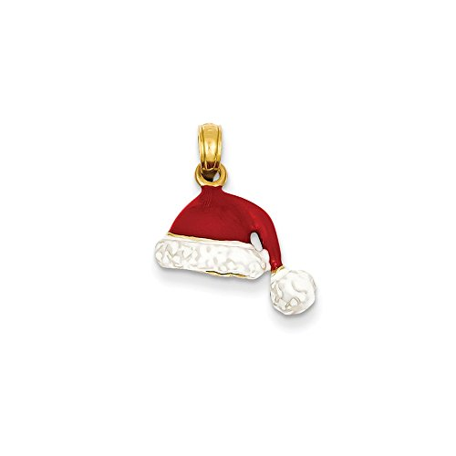 14k 3-D Enameled Santa Hat Charm, 14 kt Yellow Gold 14k Yellow Gold Santa