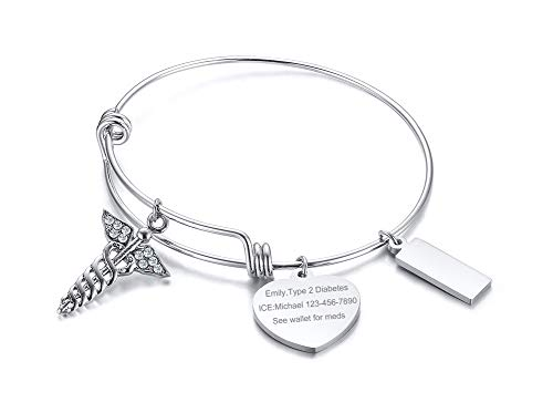 VNOX Free Engraving-Medical Symbol Stainless Steel Heart Bar ID Tag Charm Adjustable Wire Expandable Bangle