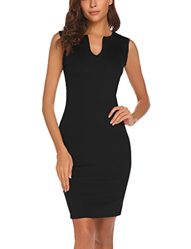 Naggoo Women's Business Wear To Work Sleeveless V Neck Bodycon Pencil Dress, Black, (Sheath Dress)