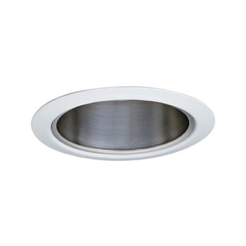 Jesco Lighting TM5510CHWH 5-Inch Aperture Line Voltage Trim Recessed Light, Aperture Cone, Chrome Finish with White Trim