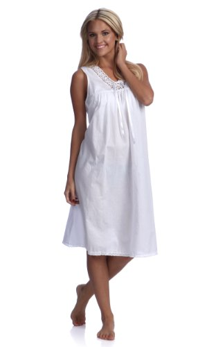 Handmade Women's Embroidered Tatting Lace Nightgown White (8/M) ()