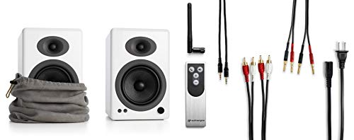 Audioengine A5+ 150W Wireless Powered Bookshelf Speakers | Built-in Analog Amplifier | aptX HD Bluetooth 24 Bit DAC, RCA and 3.5mm inputs | Solid Aluminium Remote Control | Cables Included by Audioengine (Image #2)