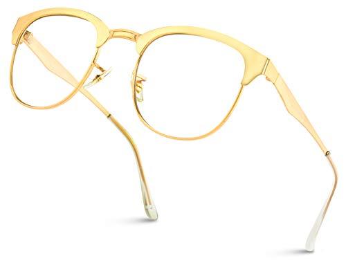 WearMe Pro - Full Metal Frame Modern Half Frame Clear Lens Non-Prescription ()