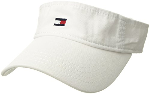 Tommy Hilfiger Men's Dad Hat Flag Solid Cotton Visor, Classic White, O/S (Embroidery Bucket Hat)