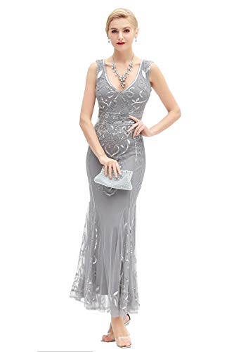 Metme Sequin Beaded Long Dresses, Gatsby Theme Party Night Sexy Women Flapper Dress Prom -