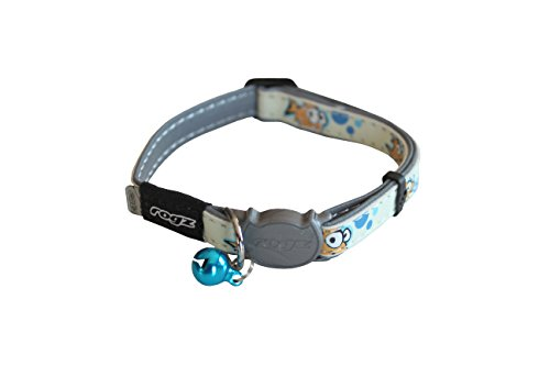 Rogz Glow in the Dark Reflective Cat Collar with Breakaway Clip and Removable Bell, fully adjustable to fit most breeds, Rocco the Rat Design