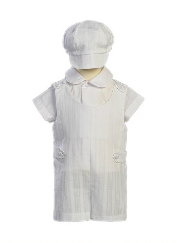 Cotton Christening Set - Cotton Embroidered Short Christening Baptism Romper Set - Size M (6-12 Months)