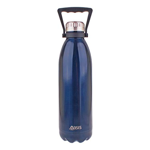 Oasis Double Wall Vacuum Insulated 18/8 Stainless Steel Water Drinks Bottle 50oz (Navy Blue) ()
