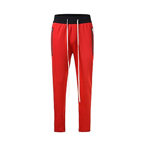 Exclusive Side Zip Pants - ONCEGALA Men's Side Stripe Ankle Zip Drawstring Trackpants (Red/White, S)