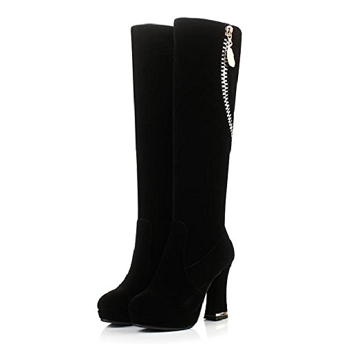 Boots KHSKX Velvet Winter Black Tall Boots Long And With Heel Boots The In Winter Children Thick rnRrAq6