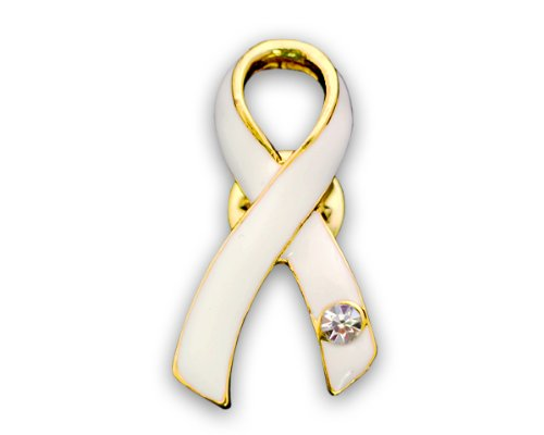 Lung Cancer Awareness White Ribbon Crystal Pin in an Elegant Gift Box (1 Pin - Retail) - Cancer Awareness Ribbons
