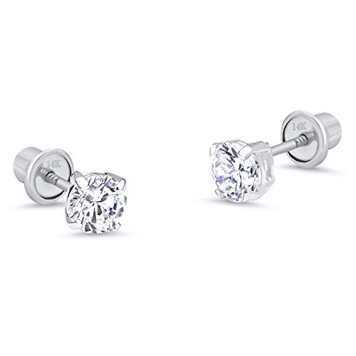 (14k White Gold 4mm Basket Round Solitaire Cubic Zirconia Children Screw Back Baby Girls Earrings)