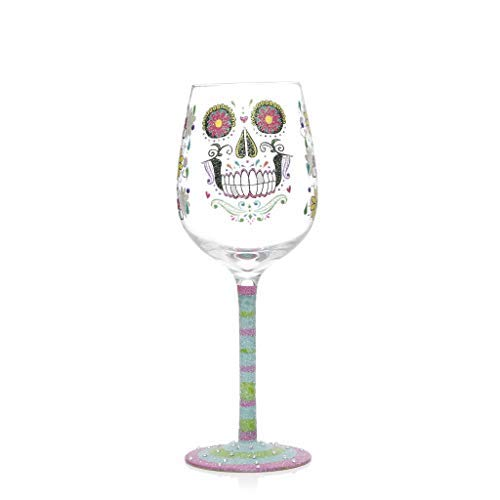 Sugar Skull Bling Wine Glass Gift, Painted Rhinestones and Glitter Day of the Dead -