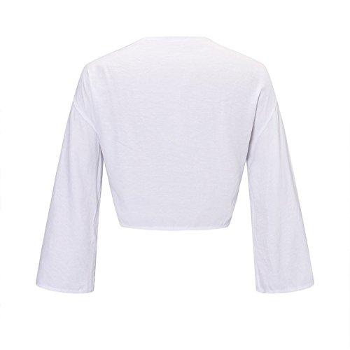 Tie Neck Crop Blouse White Mtydudxe Bow Longues Flare V Femmes Deep Front Manches Tops twBwFqY