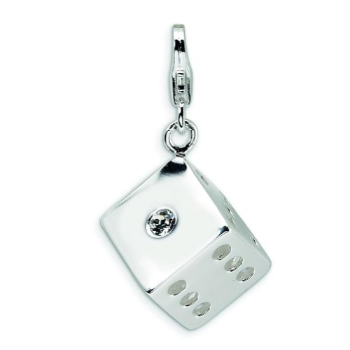 Sterling Silver Dice Lobster Clasp Charm Made With Swarovski Crystals
