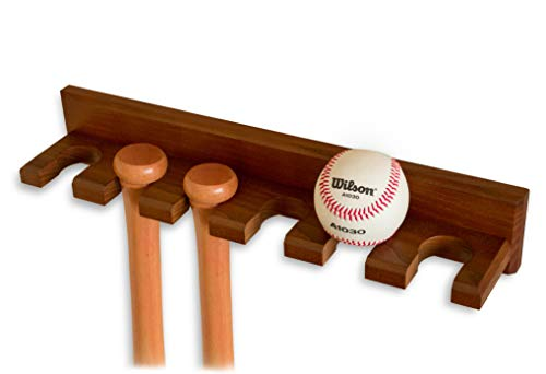 Teslyar Baseball Bat Rack Holder Display Wall Mount Ash Wood Baseball Softball Bat Rack Hardware Included Hidden Screws Vertical Display Brown
