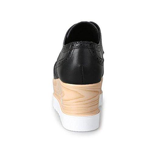 Giy Damesmode Sneaker Vierkante Teen Verhoogde Hoogte Plateau Casual Brogue Wedge Schoenen Zwart