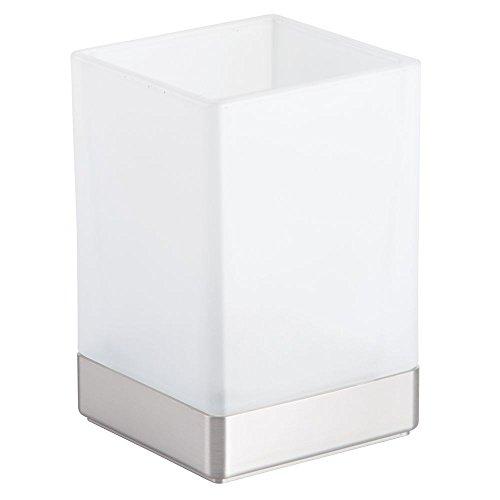 interDesign Casilla Tumbler Cup for Bathroom Vanity Countertop Brushed Nickel, Frost