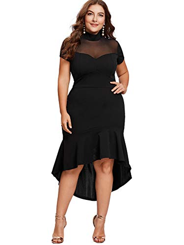 Milumia Women's Plus Size Mesh Frill Round Neck Pencil Party Dress Black 2XL
