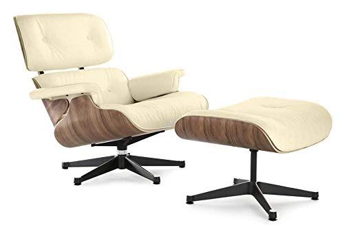 Soho Modern Style Lounge Chair - Mid Century Modern Replica Chair and Ottoman, Cream Italian Leather, Walnut Wood Veneer (Italian Leather)
