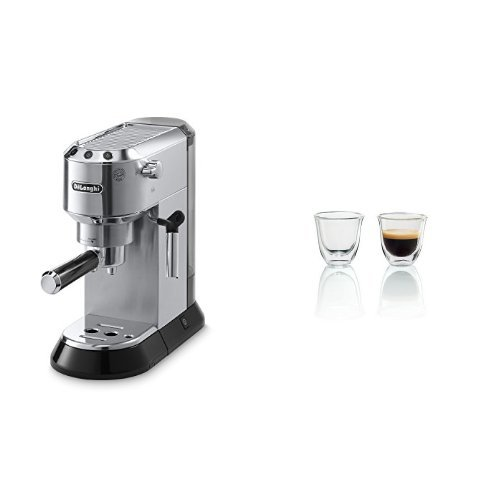 Delonghi EC680M DEDICA 15-Bar Pump Espresso Machine, Stainless Steel & DeLonghi Double Walled Thermo Espresso Glasses, Set of 2 by
