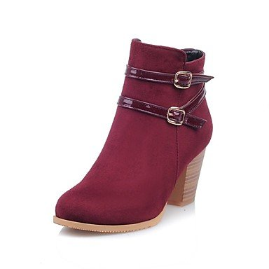 Women's Shoes Flocking Fall Winter Combat Boots Boots Chunky Heel Round Toe Booties/Ankle Boots Buckle Zipper For Casual Office & Career red