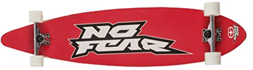 NO FEAR Longboard 112x26cm Funboard Skateboard Surfboard Holzboard Big Wheels , Modell:rot Schrift
