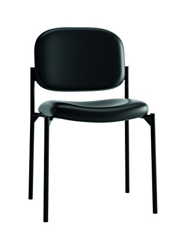 Basyx By Hon Guest Chair   Leather Stacking Chair Office Furniture  Black  Hvl606