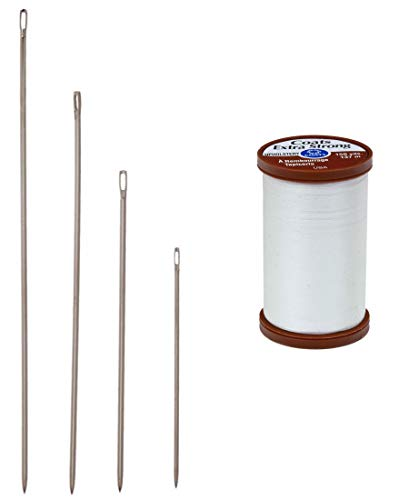Upholstery Bundle - Four Sizes Upholstery Needles with a Coats & Clark Extra Strong Upholstery Nylon Thread, 150-Yard, White.