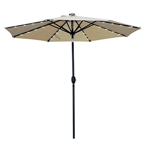 Cheap Snail 9′ Solar Powered LED Patio Umbrella with 32 Lights, Fade Resistant Garden Aluminum Table Umbrella with Push Button Tilt, Beige