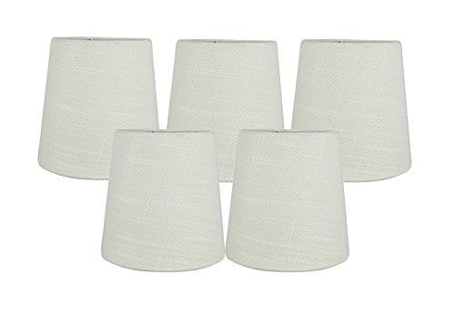 Meriville Set of 5 Eggshell Linen Clip On Chandelier Lamp Sh