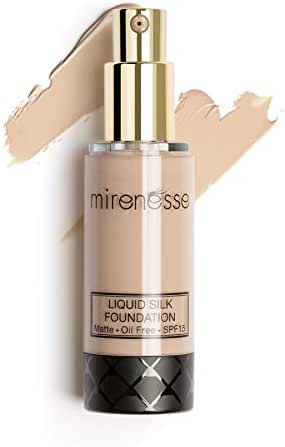 Mirenesse Skin Clone Liquid Silk Foundation SPF 15, Mineral Powder with Natural Matte Finish, Oil Free & Long Lasting High Coverage, Minimizes Pores, Vegan & Toxin Free, 21 Vienna 1.2oz