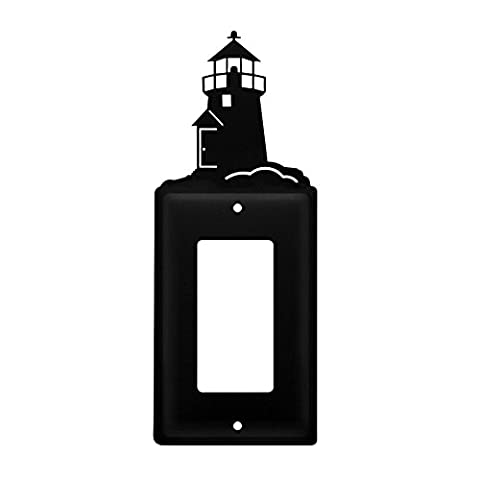 Iron Lighthouse Single Modern Switch Cover - Heavy Duty Metal Light Switch Cover, Electrical Outlet Covers, Lightswitch Covers, Wall Plate (Cast Iron Single Rocker)