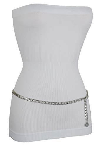 Skinny Hip Belt - TFJ Women Skinny Belt Hip High Waist Silver Metal Chain Coin Charm Buckle Plus Size XL XXL