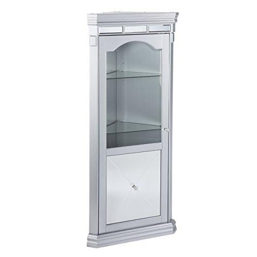 Arch Mirror Door Cabinet - Southern Enterprises AMZ2719MC Mirage Curio Cabinet, Matte Silver