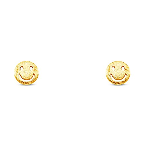 (Jewel Tie Solid 14K Yellow Gold Smiley Face Stud Earrings 7mm Diameter)