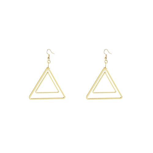 JczR.Y Simple Gold Color Double Triangle Pendant Fashion Dangle Earrings for Women Geometric Drop Earrings (Double Triangle Earrings)
