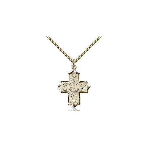 DiamondJewelryNY Religious Medal, 14kt Gold Filled 4-Way Pendant ()
