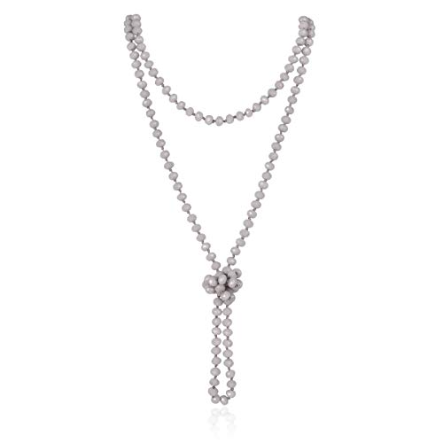 RIAH FASHION Hand Knotted Beads Endless Long Statement