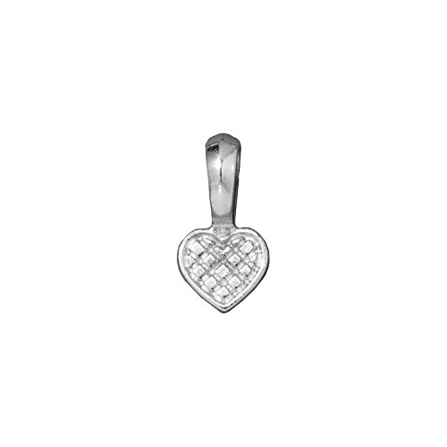 TierraCast Bail Glue on Heart, 20mm, Rhodium Plated Pewter, 4-Pack