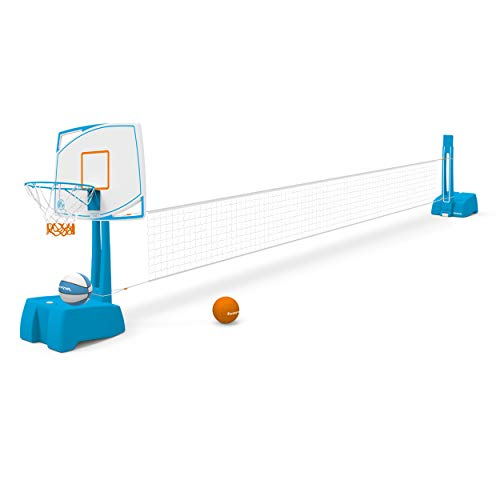 Harvil Poolside 2-in-1 Basketball Hoop and Volleyball Combo Set with Smart Backboard Storage
